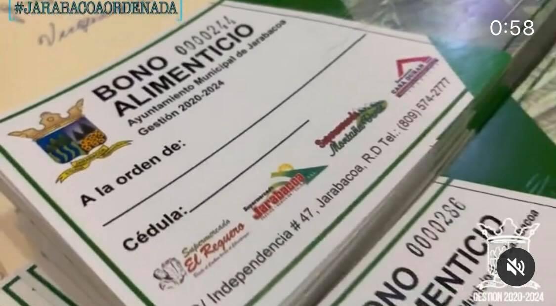 Alcalde Municipal Ing. Yunior Torres entrega BONOS ALIMENTICIOS